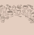 hand drawn background with coffee coffee time set vector image vector image