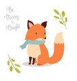hand drawn christmas fox in holiday scarf vector image