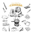 hand drawn with cheeses vector image