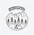 happy international mountain day vector image vector image