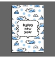 Happy new year card with cute cartoon walrus vector image vector image