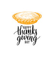 happy thanksgiving day hand lettering on white vector image vector image