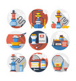 hookah color detailed icons set vector image vector image