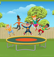 kids jumping on trampoline in garden vector image vector image