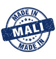 made in mali blue grunge round stamp vector image vector image