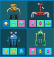 mechanical robots with navigation systems set vector image