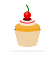 muffin with cream and cherry flat isolated vector image vector image