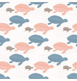 pink and blue cute kids turtle silhouette wave vector image