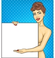 Pop art girl showing ads vector image