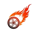 Red and orange burning car wheel vector image vector image
