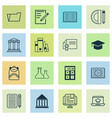 school icons set with academy building online vector image