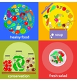 set of vegetables concept cards in outline with vector image