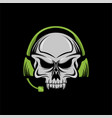 skull headphone head amazing design for your compa vector image