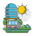 travel van riding on nature vector image vector image