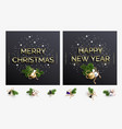 two cards happy new year and merry christmas vector image