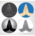 Two Hands Pressed Together in Prayer Position set vector image vector image