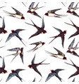 watercolor swallow pattern vector image vector image