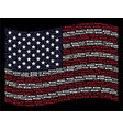waving usa flag stylization of work text items vector image vector image