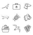 wounded animal icons set outline style vector image vector image