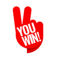 you win red tag winner symbol vector image vector image