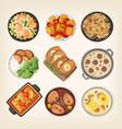 homemade dinner dishes vector image