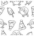 pattern penguin and ice cream vector image