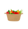 basket vegetables icon in cartoon style vector image
