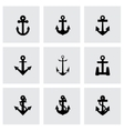 black anchor icon set vector image vector image