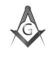 black iron masonic square and compass symbol vector image vector image