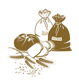 bread wheat and sacks flour on white vector image vector image
