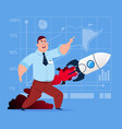 business man looking at flying rocket new startup vector image