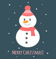 christmas card with cute snowman vector image vector image