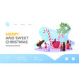 christmas treat landing page template tiny male vector image