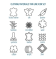 Clothing materials thin line icons vector image