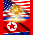 concept with flags of usa and north korea vector image vector image