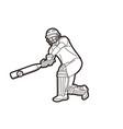 cricket player action cartoon sport graphic