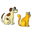 Cute happy cartoon cat and dog pets vector image vector image