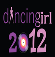 dancing girl with 2012 year vector image