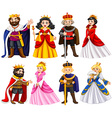 Different characters of king and queen vector image
