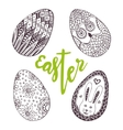 Easter eggs Unique doodle set with lettering vector image vector image
