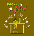 flat back school young artist likes draw vector image vector image