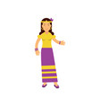 flat cartoon woman hippie happy and carefree vector image vector image