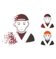 fragmented dot halftone boy icon vector image vector image