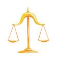 golden scales of justice cartoon vector image vector image