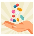hand holding various pills and vector image