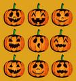 happy halloween card with set pumpkins vector image