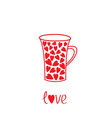 Love mug with hearts Love card vector image vector image