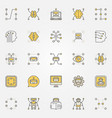 machine learning colorful icons set vector image vector image