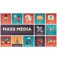 Mass Media line design icons set vector image