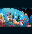 mermaid and many fish under ocean vector image